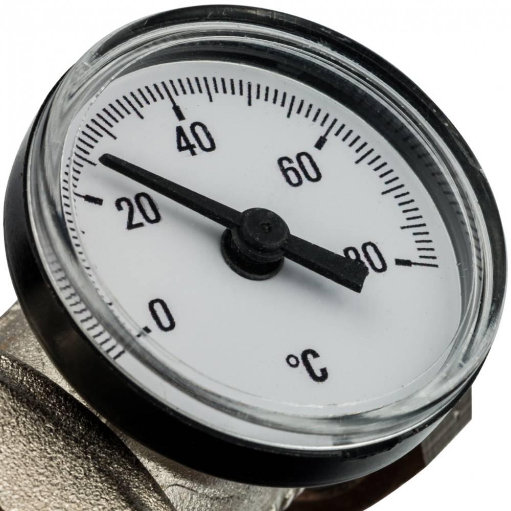 Комплект прямых шаровых кранов с термометрами (2 шаровых крана + 2 вставки с термометрами)