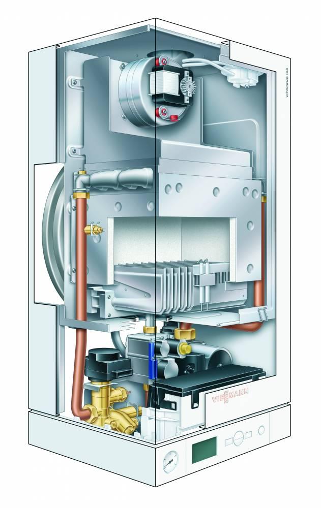 Настенный газовый котел Viessmann Vitopend 100 W тип A1JB010 24 кВт двухконтурный  с закрытой камерой