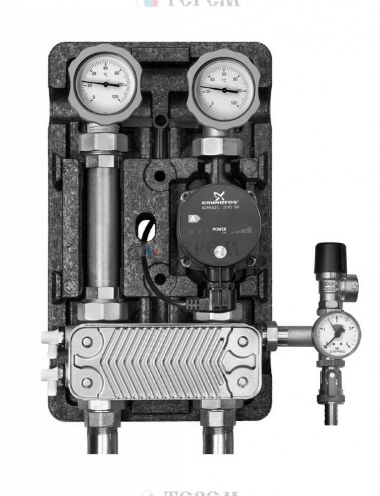 Насосная группа UK с раздельным теплообменником и бронзовым насосом с насосом бронзовым Grundfos UPS 25-60, т/о 20 пл.