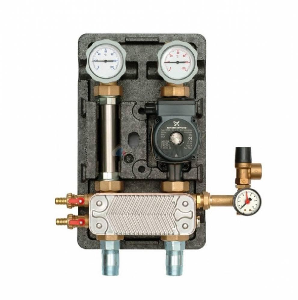 Насосная группа UK с раздельным теплообменником и бронзовым насосом с насосом бронзовым Grundfos UPS 25-60, т/о 36 пл.