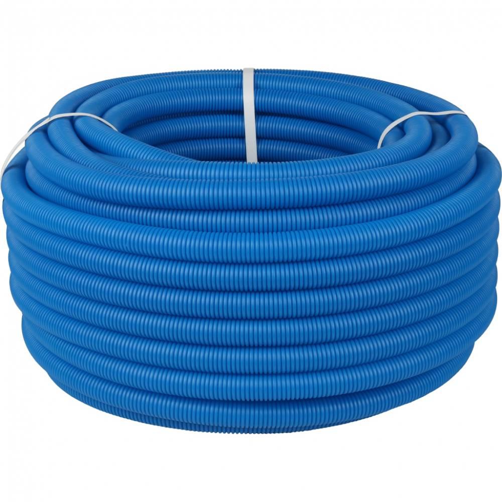 Труба гофрированная ПНД, наружным диаметром 25 мм синяя (для труб до Ø22мм)