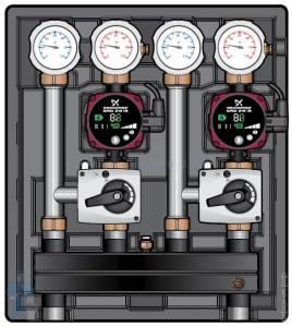 Насосно-смесительный модуль Kombimix 2 MKST_UPM3 Hybrid 15-70*