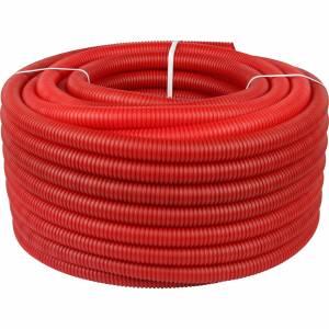 Труба гофрированная ПНД, наружным диаметром 32 мм красная (для труб до Ø27мм)